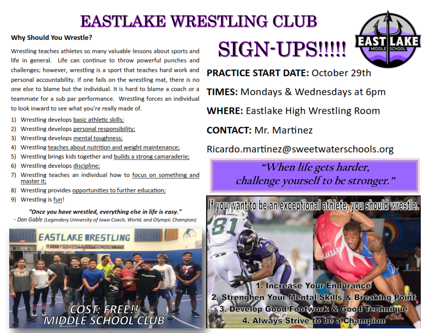Eastlake Wrestling Club Sign-ups!